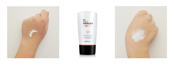 The EPL Daily Sunblock has a moisturizing, creamy texture.